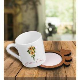 eJOYA Kişiye Özel Tasarım Türk Kahvesi Fincanı Ve Kalpli Ahşap Fincan Altlığı 101798