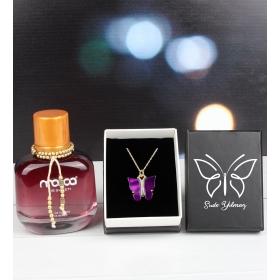 eJOYA Kişiye Özel Kutusunda Kelebek Kolye Ve Parfüm 101802