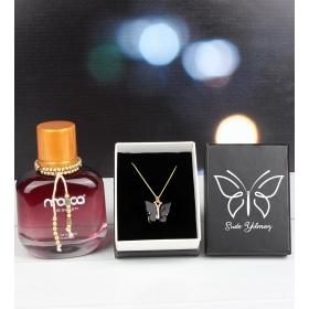 eJOYA Kişiye Özel Kutusunda Kelebek Kolye Ve Parfüm 101805