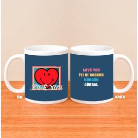 Kişiye Özel Smiley LOVE Kupa Bardağı hf5010 80193