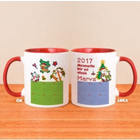 Kişiye Özel Yeni Yıl Temalı Takvimli Kırmızı Kulplu Kupa Bardak hf10213 80235
