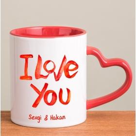 Kişiye Özel I Love You Kırmızı Kalp Kulplu Kupa hf8260 80287