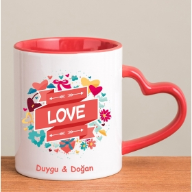 Kişiye Özel Love Temalı Kırmızı Kalp Kulplu Kupa hf8258 80289