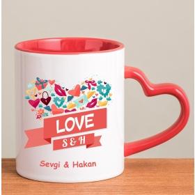Kişiye Özel Love Kırmızı Kalp Kulplu Kupa hf8259 80290