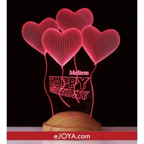 Kişiye Özel Dört Kalpli Doğum Günü Üç Boyutlu LED hf5267 80406