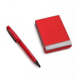 Kişiye Özel Kırmızı Kalem Kartvizitlik Set hf3289 80441