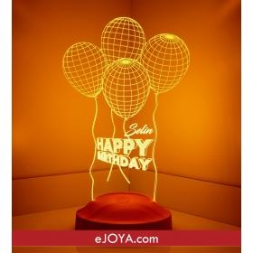 Kişiye Özel Doğum Günü Balon Temalı Üç Boyutlu LED hf5271 80445