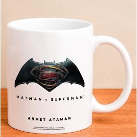 Kişiye Özel Superman Batman Logolu Kupa hf7804 80904