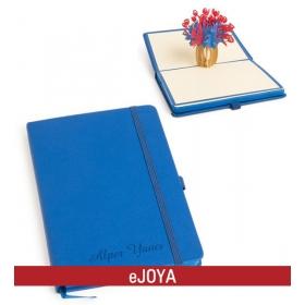 Kişiye Özel 3 Boyutlu Çiçek Temalı Mavi Defter hf10173