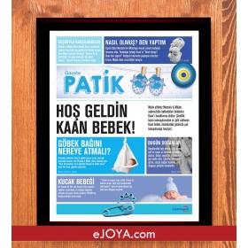 Kişiye Özel Çerçeveli Mavi Patik Gazetesi hf6301 80959