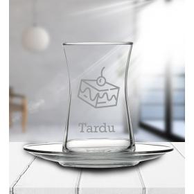 eJOYA Kişiye Özel Pasta Motifli Çay Bardağı 81990