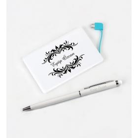 eJOYA Kişiye Özel Beyaz Powerbank Kalem Anahtarlık Set hf10673  82157