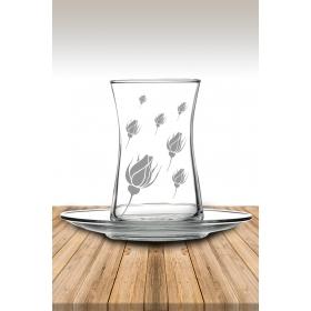 eJOYA Gonca Gül Desenli Çay Bardağı 82182