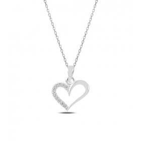 eJOYA Taşlı Kalp Gümüş Kolye 82568