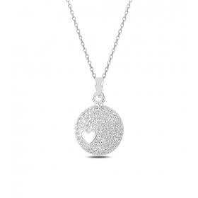 eJOYA Işıltılı Kalp Gümüş Kolye 82581