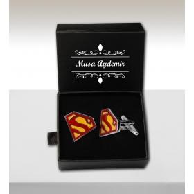eJOYA Kişiye Özel Kutuda Süpermen Kol Düğmesi 82693