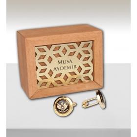 eJOYA Kişiye Özel Ahşap Kutuda Kartal Figürlü Kol Düğmesi 82708