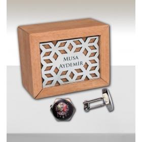 eJOYA Kişiye Özel Ahşap Kutuda Osmanlı Arması Kol Düğmesi 82717