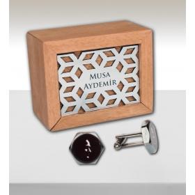 eJOYA Kişiye Özel Ahşap Kutuda Atatürk Kol Düğmesi 82718