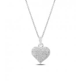 eJOYA Taşlı Kalp Gümüş Kolye 82735