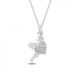 eJOYA Kalp tutan Melek Gümüş Kolye 82778