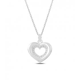 eJOYA Taşlı Kalp Gümüş Kolye 82805