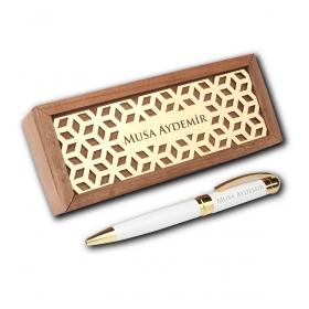 Kişiye Özel Ahşap Kutuda Beyaz Gold Vip Tükenmez Kalem 82899