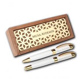 Kişiye Özel Ahşap Kutuda Beyaz Gold Vip Roller Tükenmez Kalem 82900