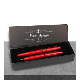 Kişiye Özel Kutuda Kırmızı Roller Tükenmez Kalem Set 82905