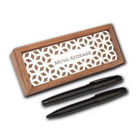 Kişiye Özel Ahşap Kutuda Vip Siyah Roller Tükenmez Kalem Set 82906