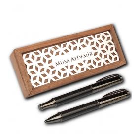 eJOYA Kişiye Özel Ahşap Kutuda Vip Siyah Roller Tükenmez Kalem Set 82927