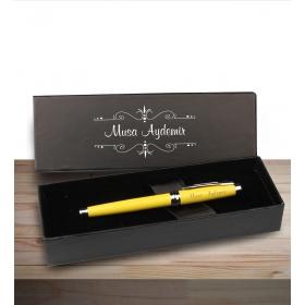 eJOYA Kişiye Özel Kutuda Sarı Metal Roller Kalem 83033