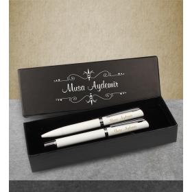 eJOYA Kişiye Özel Kutuda Beyaz Roller Tükenmez Kalem Set 83075