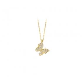 eJOYA 14 Ayar Altın Kelebek Taşlı Kolye 83206