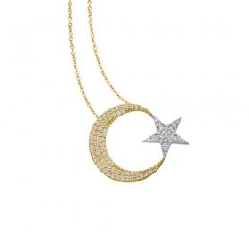 eJOYA 14 Ayar Altın Ay Yıldız Taşlı Kolye 83212