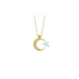 eJOYA 14 Ayar Altın Ay Yıldız Taşlı Kolye 83217