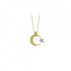 eJOYA 14 Ayar Altın Ay Yıldız Taşlı Kolye 83218