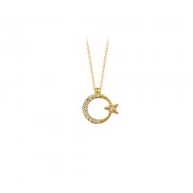 eJOYA 14 Ayar Altın Ay Yıldız Taşlı Kolye 83219