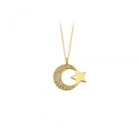 eJOYA 14 Ayar Altın Ay Yıldız Taşlı Kolye 83221