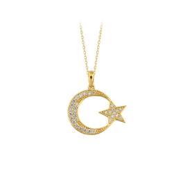 eJOYA 14 Ayar Altın Ay Yıldız Taşlı Kolye 83222