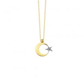 eJOYA 14 Ayar Altın Ay Yıldız Taşlı Kolye 83224