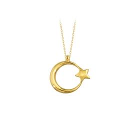 eJOYA 14 Ayar Altın Ay Yıldız Kolye 83226
