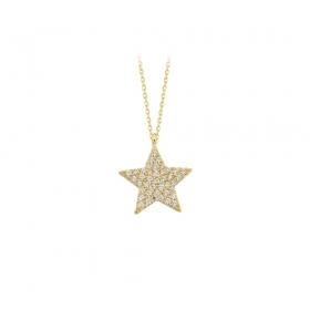 eJOYA 14 Ayar Altın Yıldız Taşlı Kolye 83309