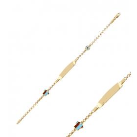 eJOYA Bordo Mavi Formalı Altın Künye 83353