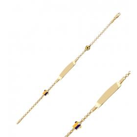 eJOYA Sarı Lacivert Formalı Altın Künye 83362
