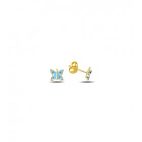 eJOYA Çocuk Mavi Kelebek Altın Küpe 83392