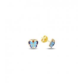 eJOYA Çocuk Mavi Kelebek Altın Küpe 83393