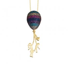 eJOYA 14 Ayar Altın Kız Çocuk Balon Taşlı Kolye 83595