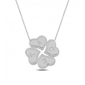 eJOYA Kişiye Özel Kalpler Gümüş Kolye 83637