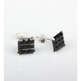eJOYA  9x9 mm Siyah Zirkon Taşlı Küpe 83840